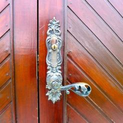 Door hardware at the village chapel where Inga was married.